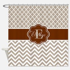 Tan Brown Quatrefoil Chevron Personalized Shower C