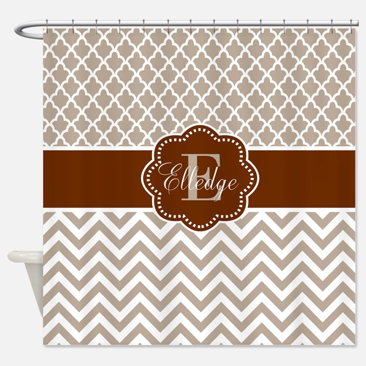 Yellow Tan And Brown Zigzag Shower Curtains