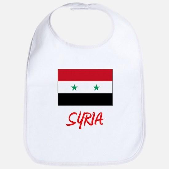Syria Flag Artistic Red Design Baby Bib