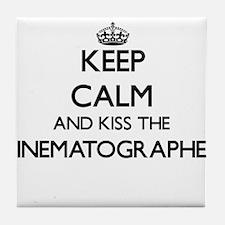 Keep calm and kiss the Cinematographe Tile Coaster