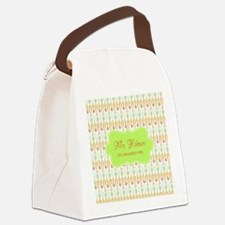 Green Paper Clips Teachers Person Canvas Lunch Bag