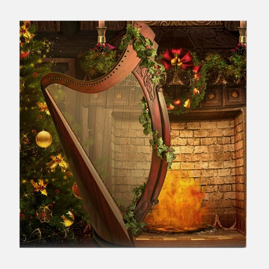 Celtic Holly Harp Tile Coaster