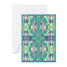 Green 'Stained Glass' Cross Greeting Cards (10 Pk)