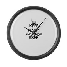 Keep calm and kiss the Cop Large Wall Clock