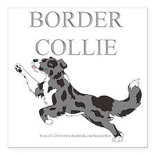 "Blue Merle Border Collie Square Car Magnet 3"" x 3"""