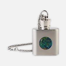 Van Gogh Garden Irises Flask Necklace
