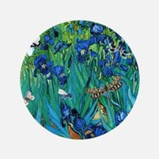 "Van Gogh Garden Irises 3.5"" Button"