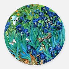Van Gogh Garden Irises Round Car Magnet