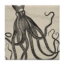 Beautiful Black Octopus on marbling texture Tile C