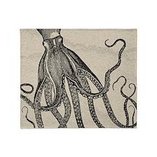 Beautiful Black Octopus on marbling texture Throw