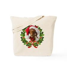 Baby Boer Goat in Santa Hat Tote Bag