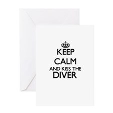 Keep calm and kiss the Diver Greeting Cards