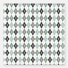 Gray Mint Argyle Diamond Print Square Car Magnet 3
