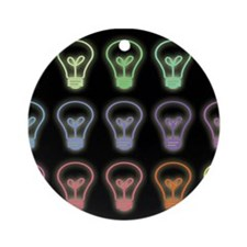 Colorful lightbulbs pattern illus Ornament (Round)