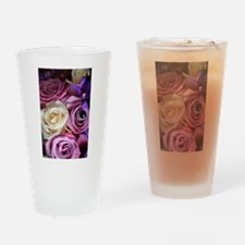 Purple and white wedding roses Drinking Glass