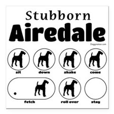 "Stubborn Airedale V2 Square Car Magnet 3"" X 3"