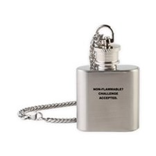 NON FLAMMABLE CHALLENGE ACCEPTED Flask Necklace