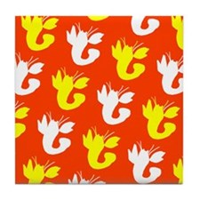 Orange Yellow Lobster Fellow 23 Tile Coaster