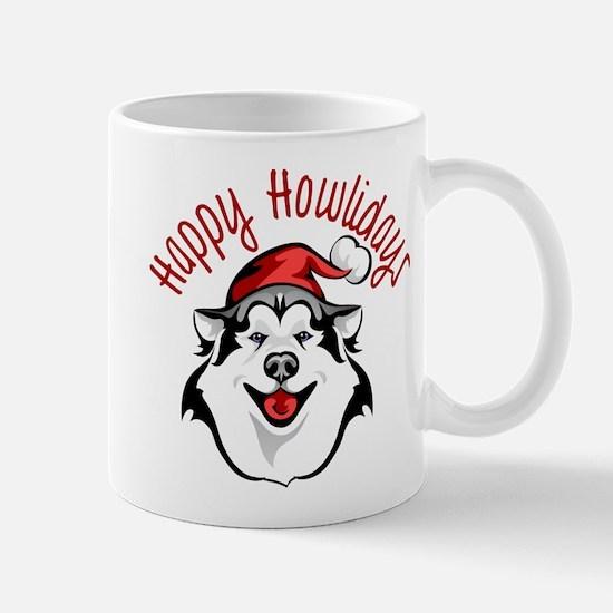 Happy Howlidays Husky Santa Mugs