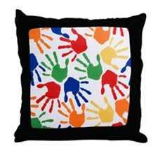 Kids Handprint Throw Pillow
