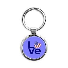 Darker Blue background LOVE USA Keychains