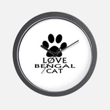 Love Bengal Cat Designs Wall Clock
