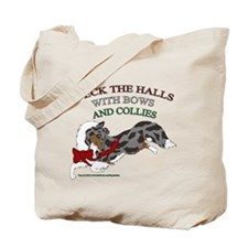 Holiday Collie Merle Tote Bag
