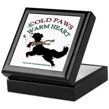 Holiday Paws Border Collie B&W Keepsake Box