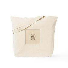 Vintage Russian Sketch Teddy Bear Tote Bag