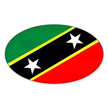 Saint Kitts and Nevis Flag Oval Sticker