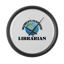 World's Funniest Librarian Large Wall Clock