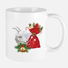 Christmas Goat Finds Candy Cane Mugs