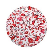 Red Floral Ornament (Round)