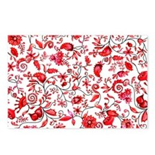 Red Floral Postcards (Package of 8)