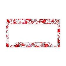 Red Floral License Plate Holder