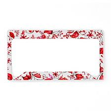 Red Floral License Plate Holder