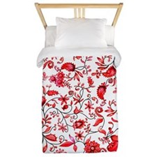 Red Floral Twin Duvet