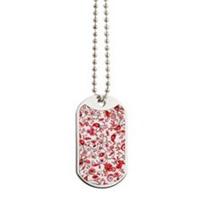 Red Floral Dog Tags