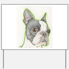 Boston Terrier Drawing Yard Sign