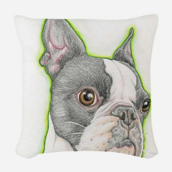 Boston Terrier Drawing Woven Throw Pillow
