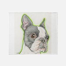 Boston Terrier Drawing Throw Blanket