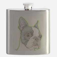 Boston Terrier Drawing Flask