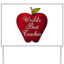 Worlds Best Teacher Apple Yard Sign