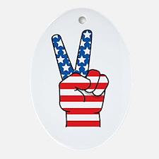 Peace Patriot Oval Ornament