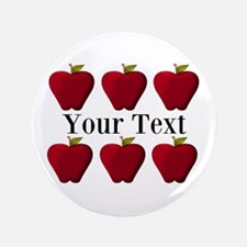 """Personalizable Red Apples 3.5"""" Button (100 pack)"""