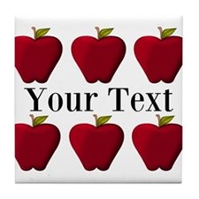 Personalizable Red Apples Tile Coaster