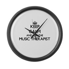 Keep calm and kiss the Music Ther Large Wall Clock