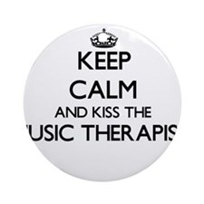 Keep calm and kiss the Music Ther Ornament (Round)