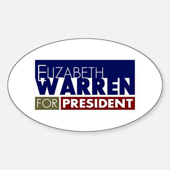 Elizabeth Warren for President V1 Sticker (Oval)