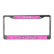Pink Polka Dot Chihuahua License Plate Frame